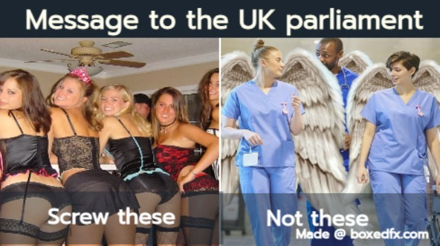 Funny nurse meme featuring prostitutes and nurses, with the caption'Message to the UK parliament: screw prostitutes not nurses'