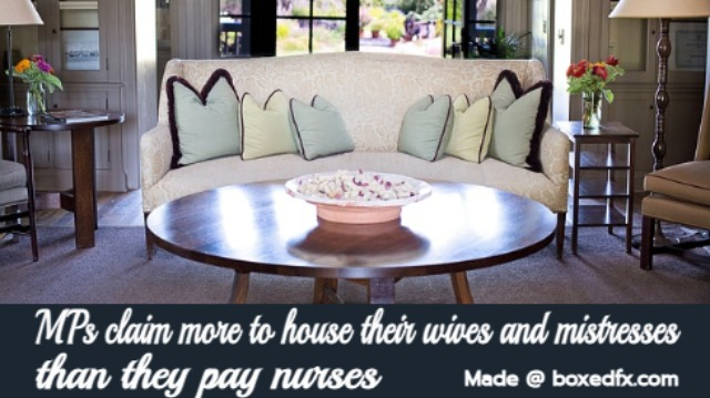 Funny nurse meme featuring a luxurious apartment and with the caption'Mmebers of paliament claim more to house their wives and mistresses than they pay nurses'