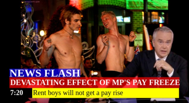 Funny UK political meme in the form of a newsflash, with the caption: 'Devastating effect of MPs pay freeze. Rent boys will not get a pay rise'