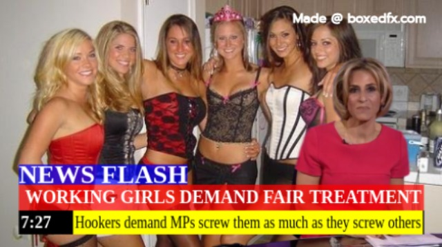 Funny UK political meme in the form of a newsflash, with the caption: 'Working girls demand fair treatment. Hookers demand members of parliament screw them as much as they screw others'